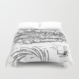 Airplane Jet Engine Patent - Airline Engine Art - Black And White Duvet Cover