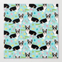 Tri colored corgi easter spring easter eggs dog breed dog art dog patterns by pet friendly Canvas Print