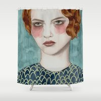 strong Shower Curtains featuring Sasha by Sofia Bonati
