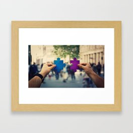 connecting puzzle pieces Framed Art Print