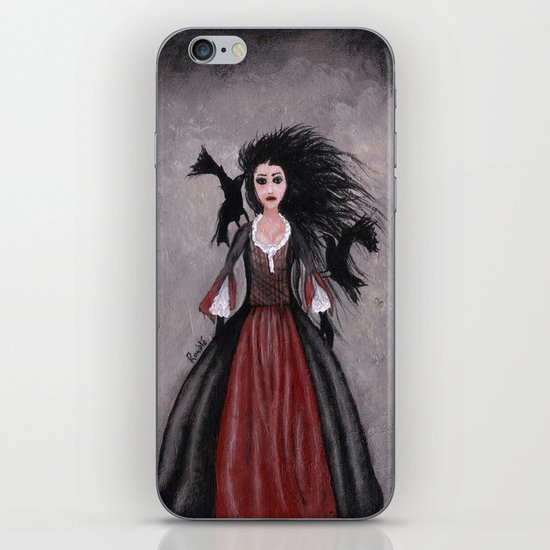 Little Black Haired Girl + Crows iPhone & iPod Skin