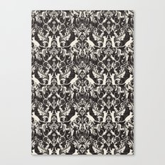 Victorian cat damask Canvas Print