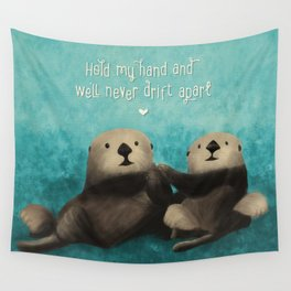 Sea Otters in Love Wall Tapestry