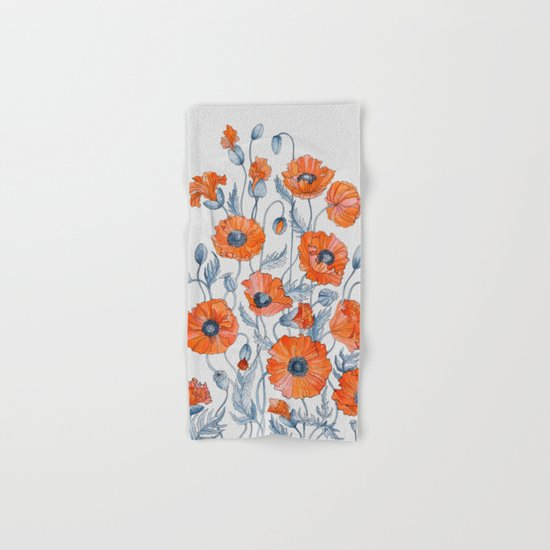 Poppies botanical art Hand & Bath Towel