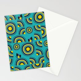 African teal hand-drawn cropped Mandalas Stationery Cards