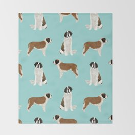 Saint Bernard dog breed pet portrait pure breed unique dogs gifts Throw Blanket