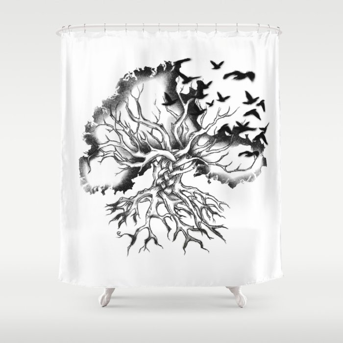 Hand Designed Celtic Pattern Tree With Knots And Crows Shower Curtain By Fabiolab