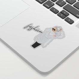 Girl in fluffy fur Sticker
