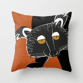 Black bear cat Throw Pillow