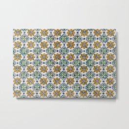 Mediterranean Vintage Blue and Orange Tiles Metal Print
