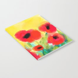 Red poppies - original design by ArtStudio29 - red flowers on yellow background Notebook