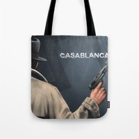 casablanca Tote Bags featuring Cinema Classics: Casablanca by Raven Krupnow