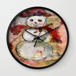 Snowman with Red Hat Wall Clock