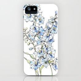 Blue Delphinium Flowers iPhone Case
