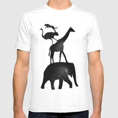 Animal Stack White Mens Fitted Tee MEDIUM