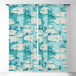 Monets Waterlilies Pattern — Mint Green Blackout Curtain