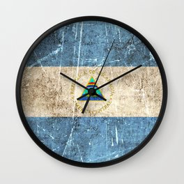 Vintage Aged and Scratched Nicaraguan Flag Wall Clock