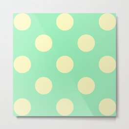 Vintage Cream and Mint Polka Dots Metal Print