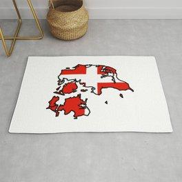 Denmark Map with Danish Flag Rug
