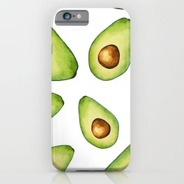 Green Avocados with Pits Pattern Digital Graphic Design Watercolor Painting iPhone Case