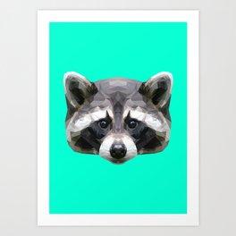 Raccoon // Mint Art Print
