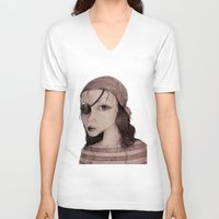 pirate V-neck T-shirts featuring Pirate by CokecinL