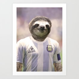 Football Sloth Art Print