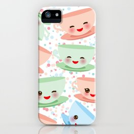 Cute blue pink green Kawai cup, coffee tea with pink cheeks and winking eyes, polka dot background iPhone Case