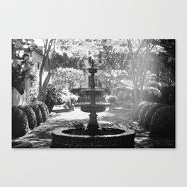 Charleston Black and White Fountain Canvas Print