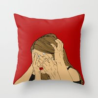 introvert Throw Pillows featuring Introvert 5 by Heidi Banford