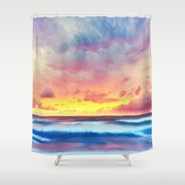 Lonas planet stormy evening Shower Curtain