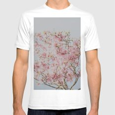 Pink Magnolias White Mens Fitted Tee MEDIUM