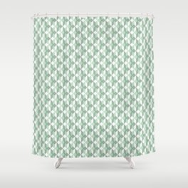 Abstract geometrical  forest mint green white pattern Shower Curtain