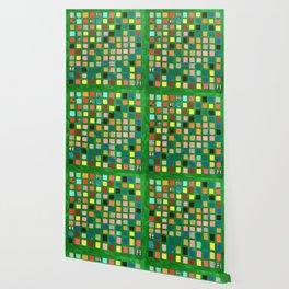 Green Color Grid Wallpaper
