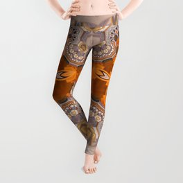 Abstract autumn with artistic mushrooms Leggings