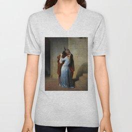 The Kiss (Il Bacio) - Francesco Hayez 1859 Unisex V-Neck