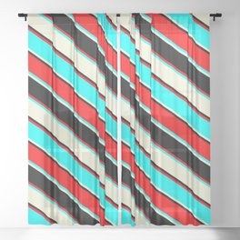 Red, Cyan, Beige, and Black Colored Lines/Stripes Pattern Sheer Curtain
