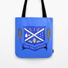 Give Us Beer College Emblem with Latin Script Tote Bag
