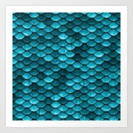 Beach house aqua blue mermaid fish Scales Art Print