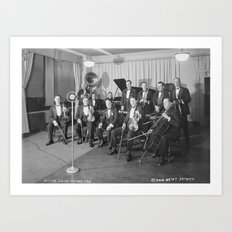 Vintage black and white photo of orchestra Art Print
