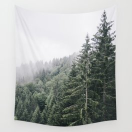 Misty Mountain Forest - Fog in Woods - Rainy Day Wall Tapestry
