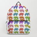 Colorful Parade of Elephants in Red, Orange, Yellow, Green, Blue, Purple and Pink by elephanttrunkstudio