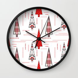 Seamless christmas applique patchwork pattern Wall Clock