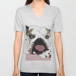 English Bulldog heart shaped tongue Unisex V-Neck