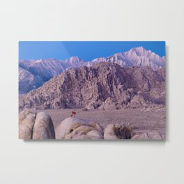 Photographer setting up a shot at Lone Pine, CA. (movie Flats) Metal Print