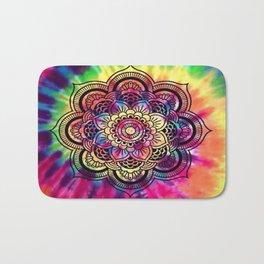 Trippy Rainbow Tiedye Mandala Bath Mat