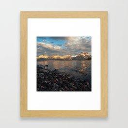 First Light on the Tetons and Jackson Lake Framed Art Print