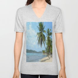 The Caribbean beach 01 Unisex V-Neck