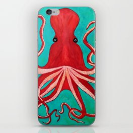A big red octopus; sea creatures iPhone Skin