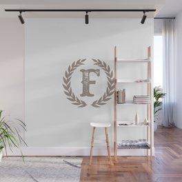 Beige Monogram: Letter F Wall Mural